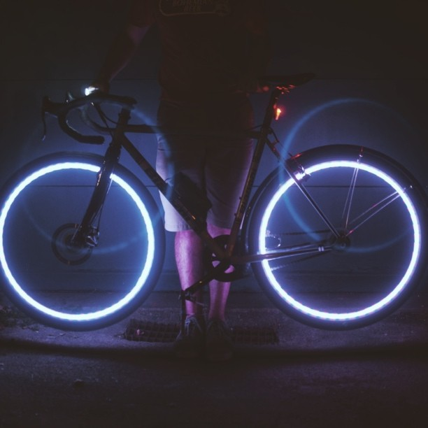 The usual product testing #projectaura #wheellights #bikes # troncycle #prototesting