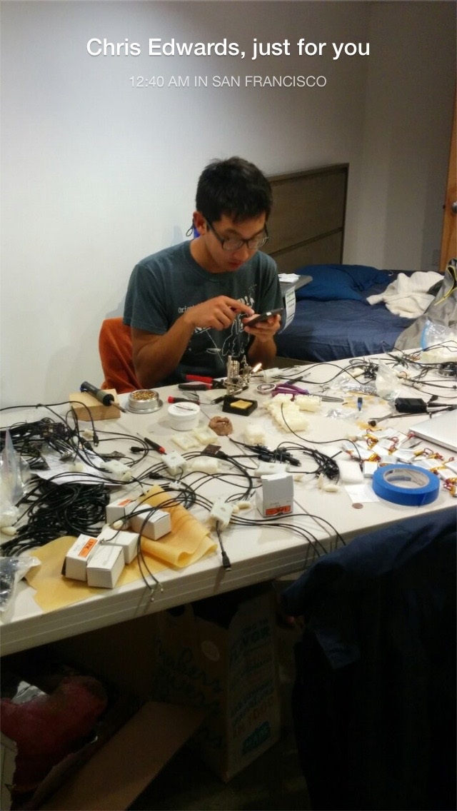 My friend snapchatting the madeness of me assembling and testing each test unit by hand.