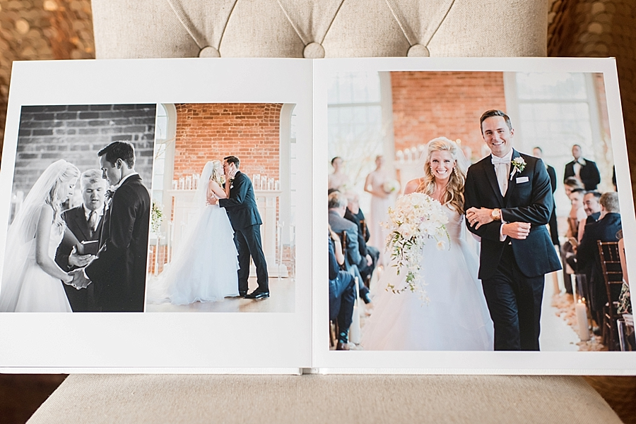 "We custom design all of our client albums. Our design style is clean and elegant and formatted in ""storytelling"" fashion with the beginning of the album starting with ""getting ready"" photos, and ending with your ""grand exit."""