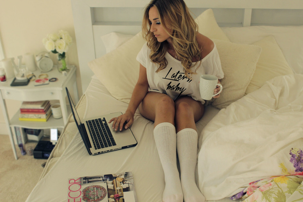 Laters, baby Crop top paired with a pair of high socks for a perfect morning with coffee.