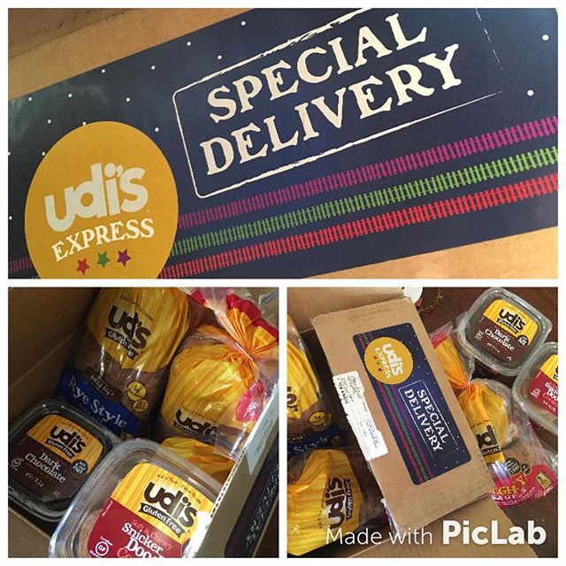 Santa's been busy! @clever_brutality Just received her @udisglutenfree Special Delivery! When you're a #celiac teen this is the best holiday care package! 💛💛💛 I can't believe all of the yummy #gf goodies she's getting to enjoy ~ a new rye bread that's #glutenfree snicker doodles, dark chocolate brownie bites, mighty bagels and cinnamon raisin bread. She says she's most excited about the dark chocolate...anything chocolate 🍫🍫🍫Which is your favorite? Can't wait to hear how she likes the new rye bread. I haven't even gotten a chance to try it yet 😬💛💛💛Thank you from all of us #udisglutenfree #eatinspiredtoday