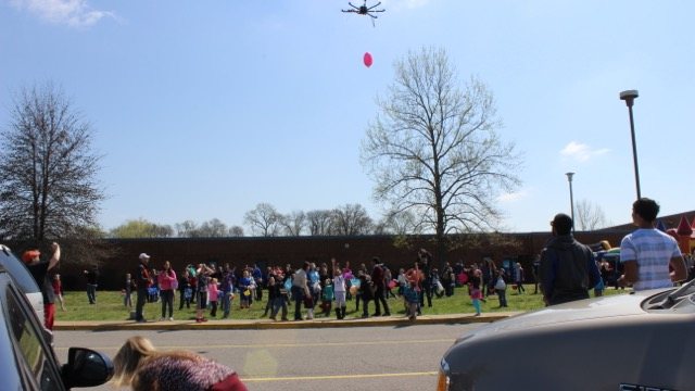 Our Octocopter dropping candy to the kids.