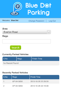 A sample of the Parking Officer Dashboard