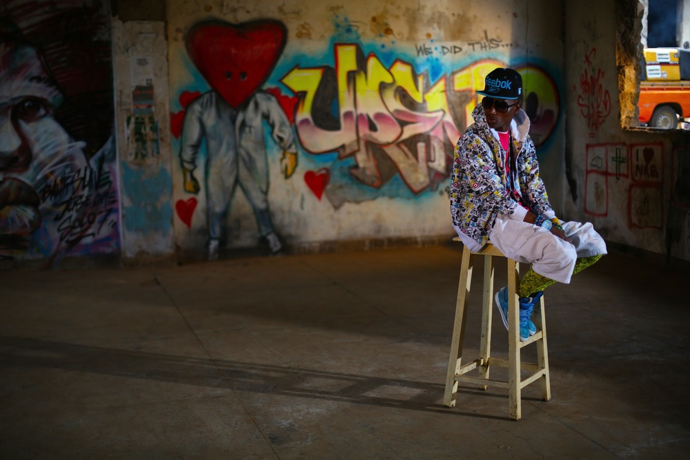 Kenyan rapper Octopizzo on the set of his music video, Swag music