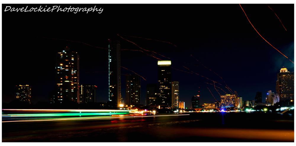 Beautiful light show on the Chao Phraya river, Bangkok.
