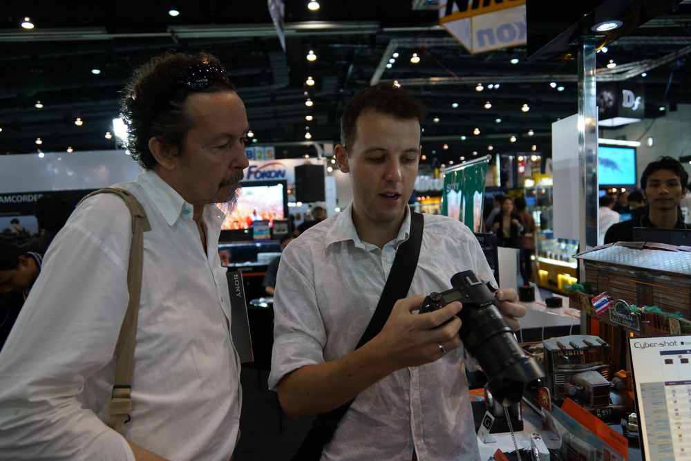 My new Belgian friend William and I talking the pros and cons of the new Sony RX10.