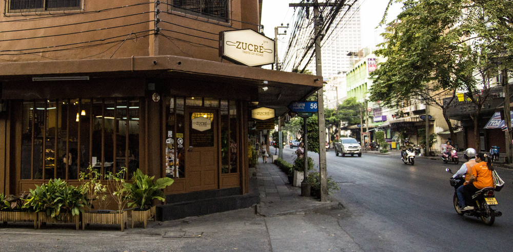 Front of Zucre coffee shop. Situated on Charoenkrung Road Soi 56