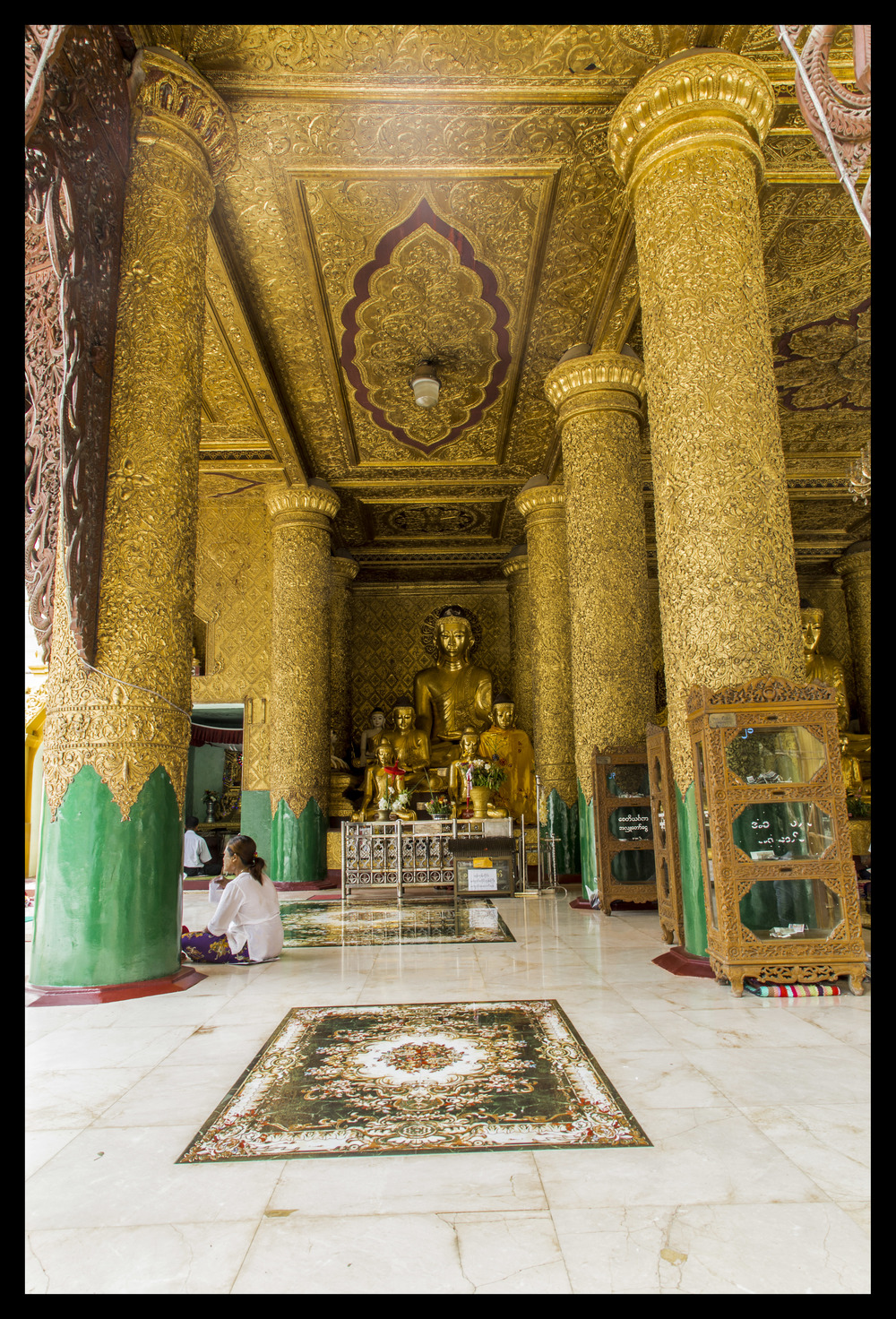 Inside of a Temple surrounding Shwedagon Pagoda.