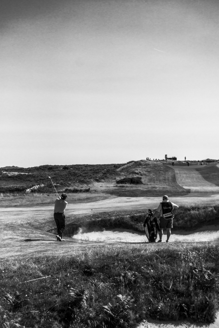 Andrew Oldcorn with a drive from the Fairway at Royal Porthcawl Senior Open 2014.
