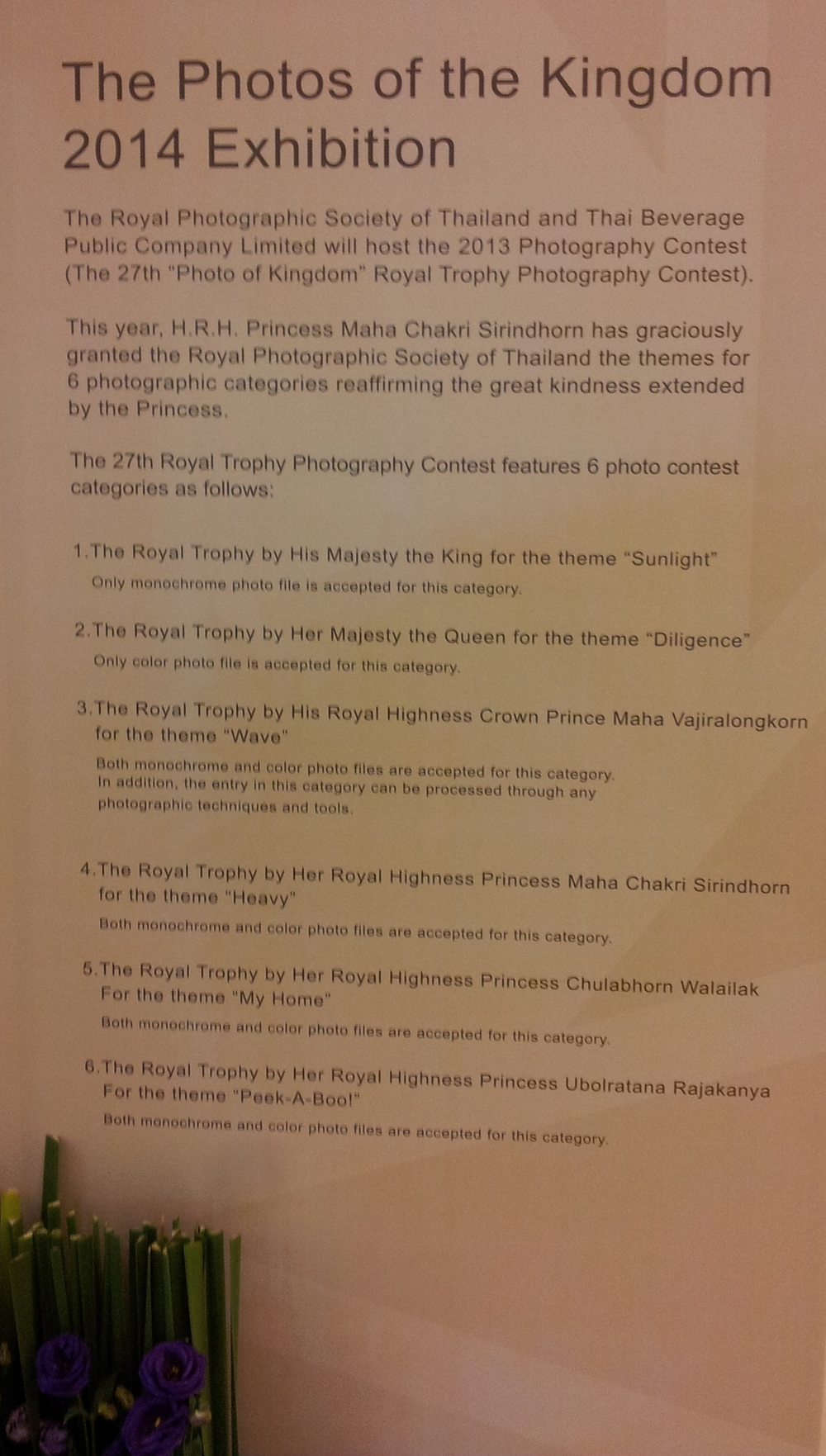 At the Siam Paragon; a gigantic mall located in the heart of Bangkok is host to a photographic exhibition courtesy of The Royal Photographic Society of Thailand.
