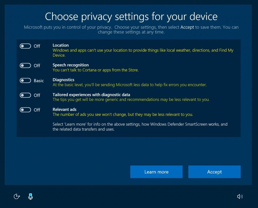 Microsoft Creator's update gives many new options to control Privacy settings.