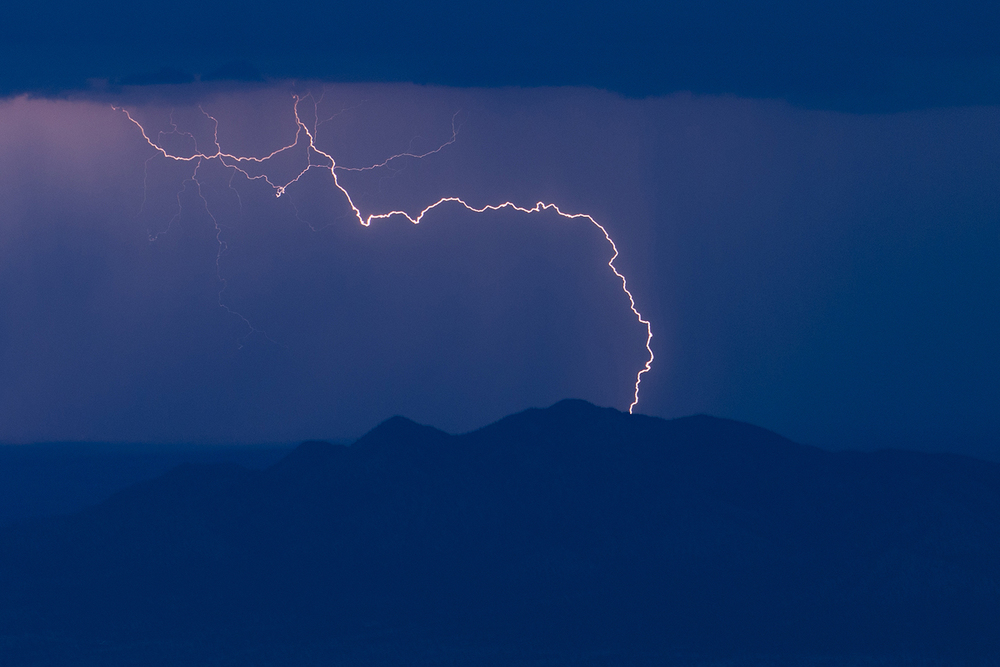 Lightning over the Albuquerque hills.