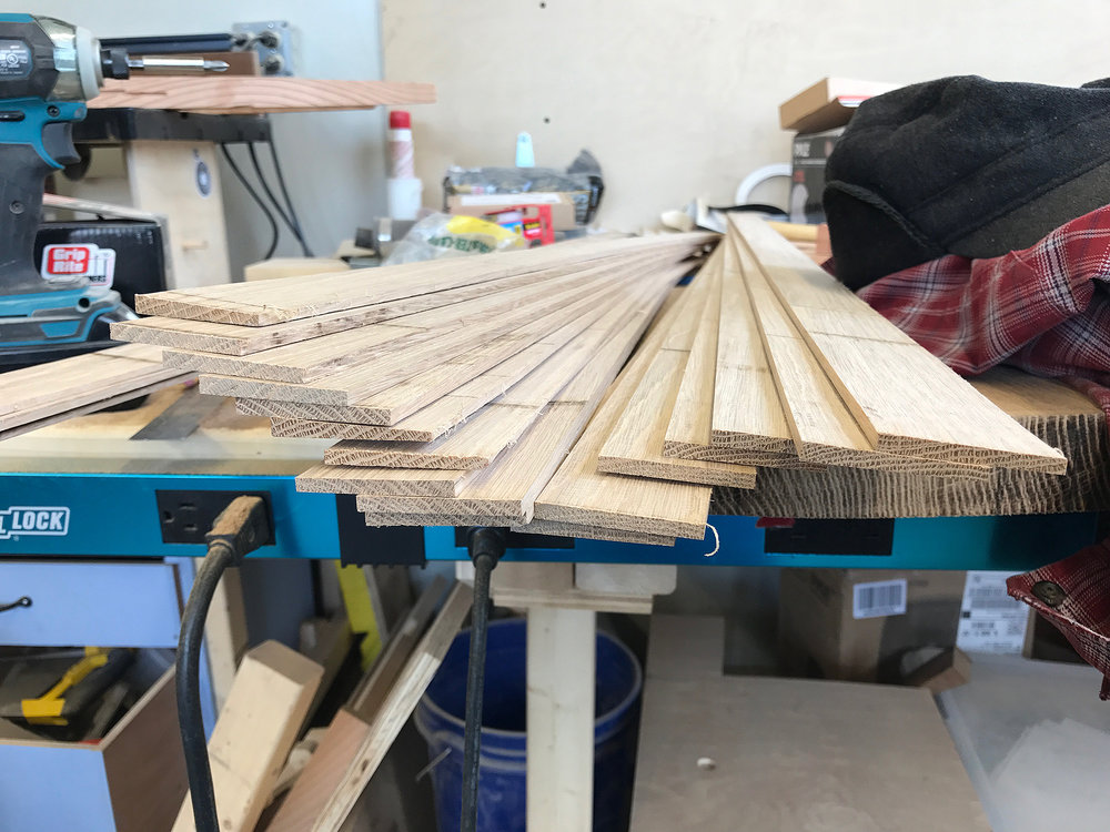preparing white oak slats for lamination