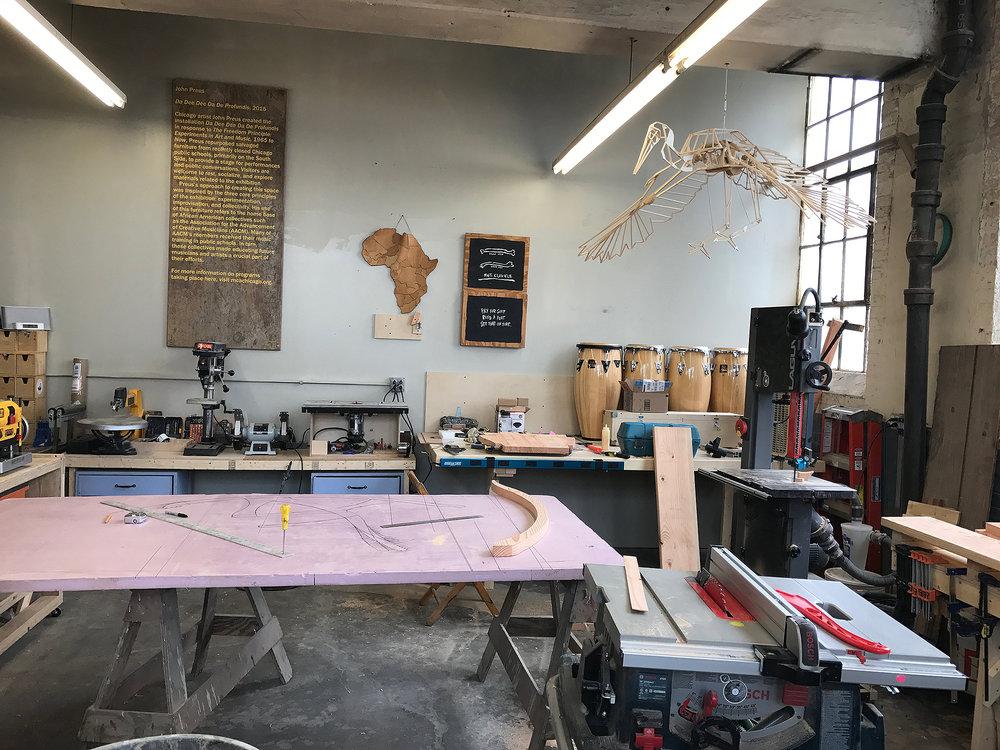 Preparing to build the chair prototype at Iramba Studio.