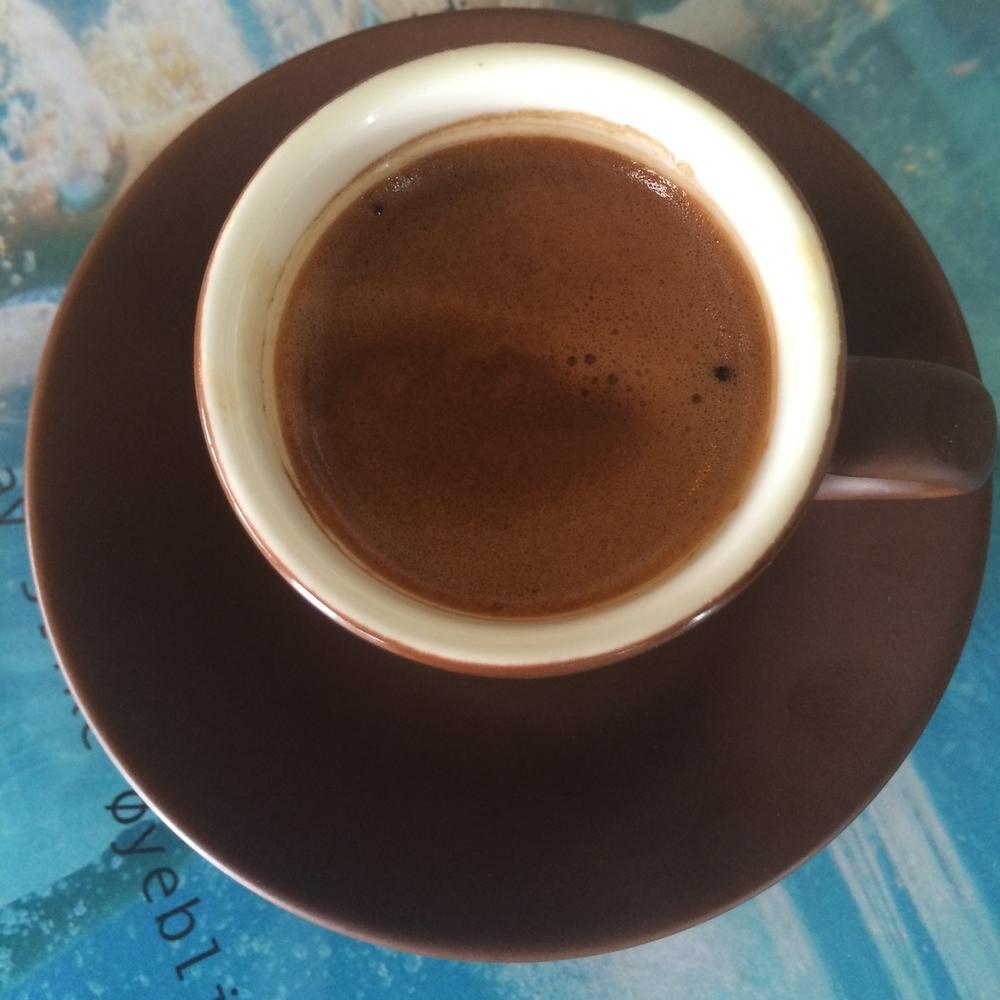 ESPRESSO    Vår egen Drømmekaffi. Enkel eller dobbel shot espresso.     Enkel 29,- (ta med 27,-) Dobbel 37,- (ta med 35,-)