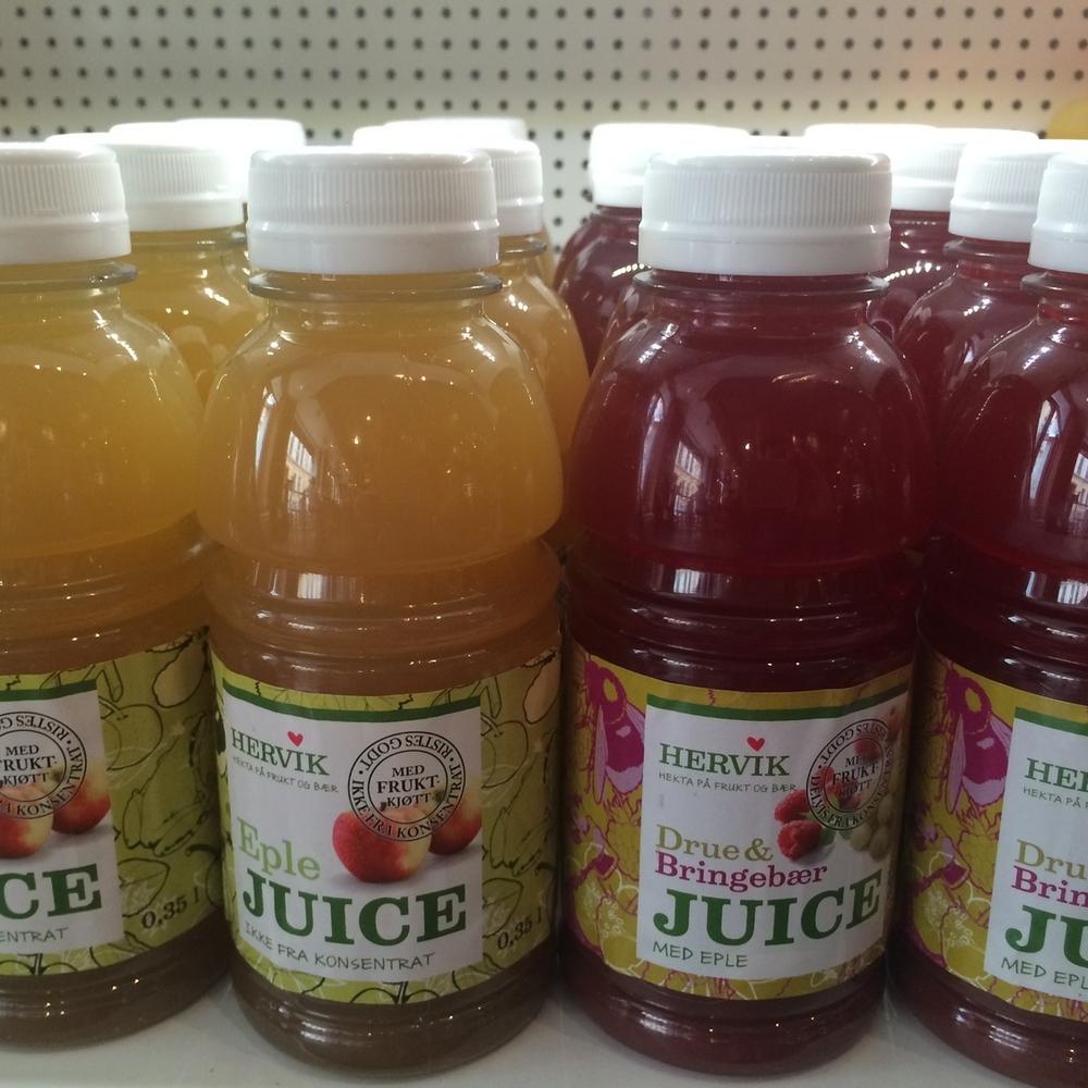 ØKOLOGISK JUICE Juice fra Hervik. 0,35 l. 39,- (ta med 36,-)