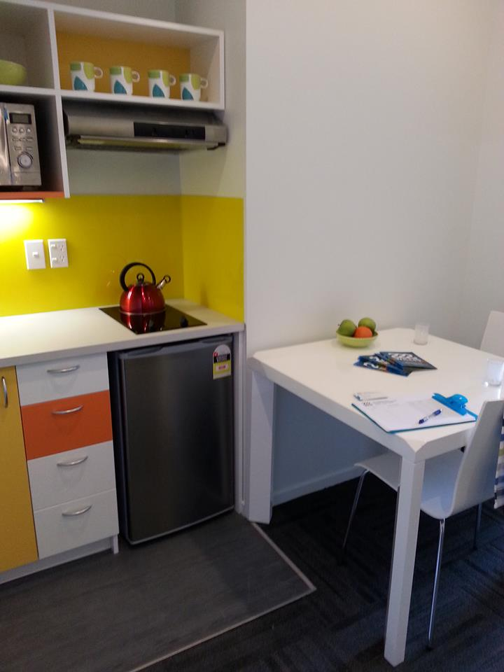 The fantastic looking 2 bedroom kitchens (this has the new splash backs that have just arrived installed - do you like the yellow?!)
