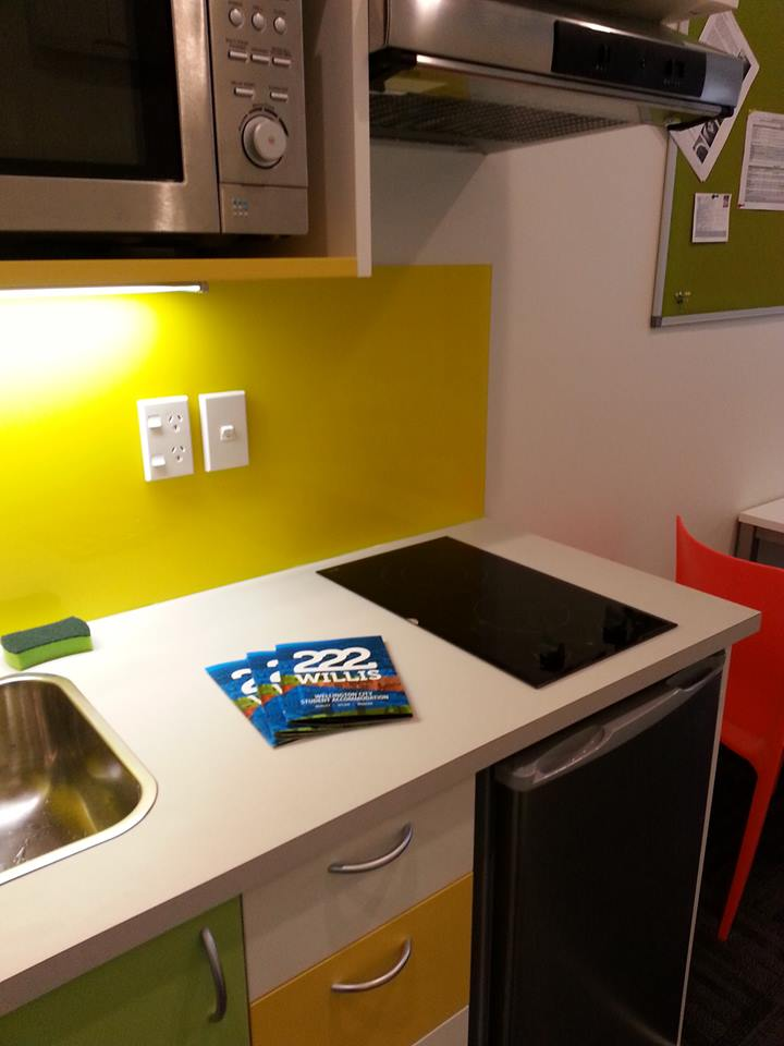 The studio kitchen and our great new brochure!