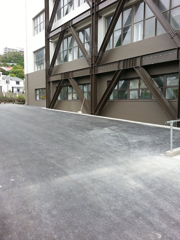 The side carpark now all asphalted and clear of construction gear (well most of the time)