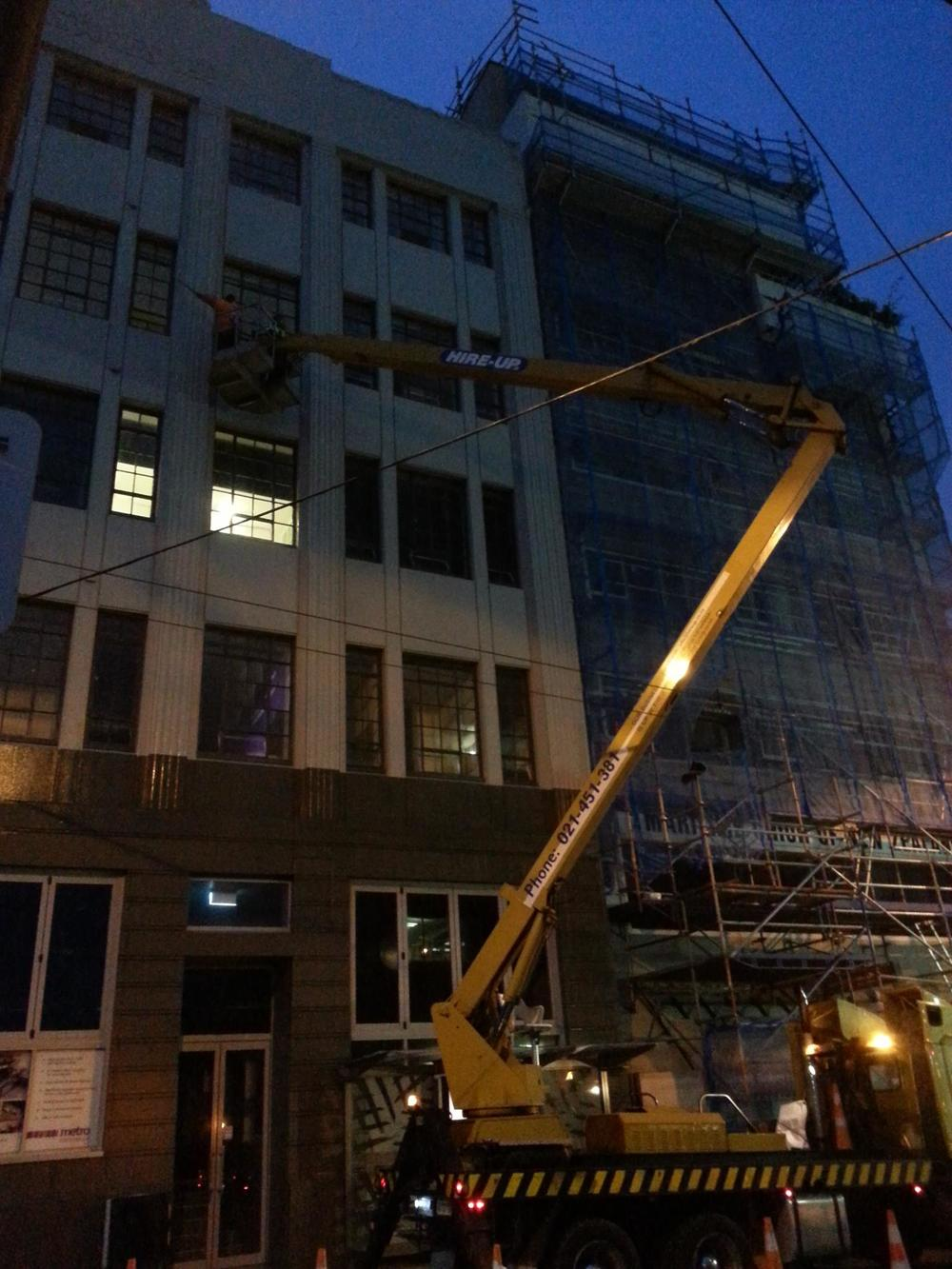 The building wash was started at 3am because they were not allowed to disrupt the traffic on Willis St.