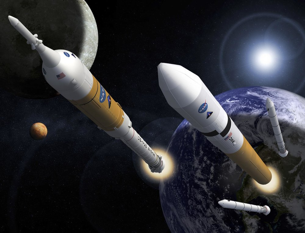 Artist Rendition of the Aries I and Aries V launch vehicles as a part of the Constellation Program (Courtesy of  NASA )