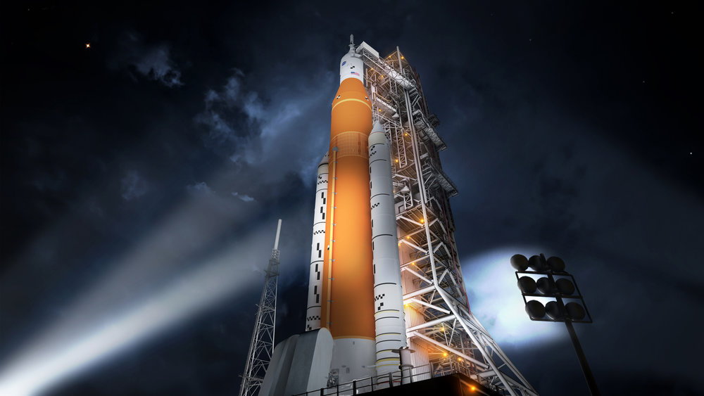Artist Rendition of the SLS Block 1 Configuration (Courtesy of  NASA )