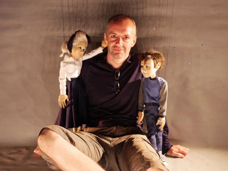 Tony with hero puppets