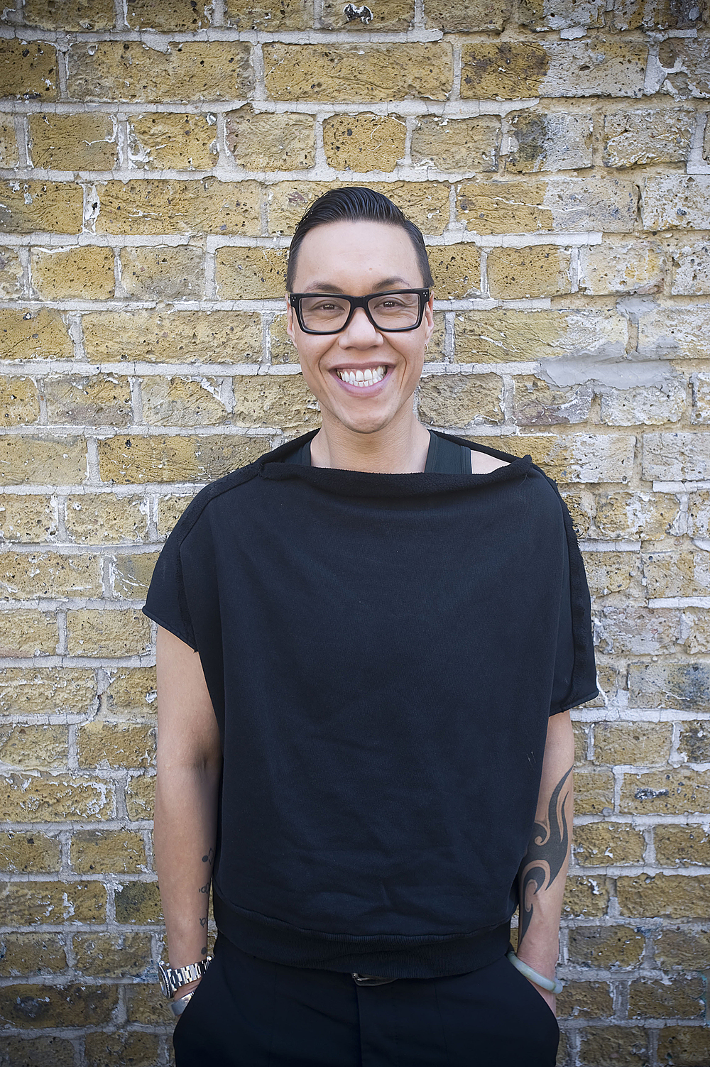 Portrait of Fashion Designer Gok Wan outside his Shoreditch Studio