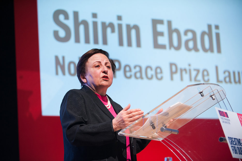 Candid Portrait of Shirin Ebadi - Nobel Prize Peace winner speaking at an event in London