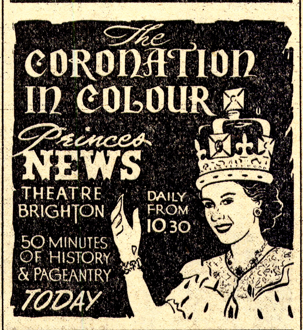 Ad for the Princes News Theatre screening of the Coronation from the Herald 13th June 1953