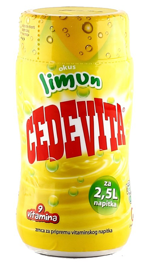 Cedevita is a sugary lemon Croatian vitamin drink distributed to children during the war as a public health initiative at first before becoming a popular soft drink in itself.