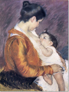 "Painting by Mary Cassatt. ""Beastings"" means the first milk secreted by the mammary glands."