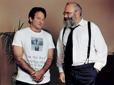 Oliver Sacks at the New York screening party for the movie of his book Awakenings, starring Robin Williams as a character based on Sacks, 1990.
