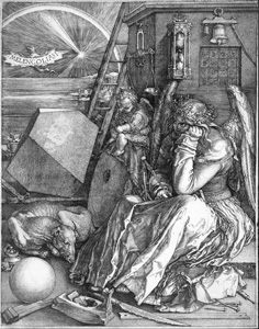 Banville describes Polly as sitting like Dürer's engraving 'Melencolia'