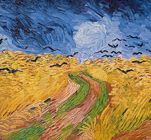 "Frankie sees in Van Gogh's  Wheatfield with Crows  ""An angry, churning sky, tall yellow stalks, a grass-green and mud-brown path cutting through the stalks, tapering into the distance; a line made by walking."""