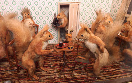 Mirka skilfully depicts intricate scenes of English life in anthropomorphic models using small mammals.