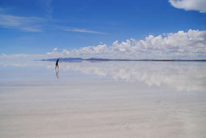 In one section, Daniel and his son Niall travel to the eerie and unusual salt flats of South America.