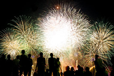 Each section begins with a new year and a description of fireworks in the village.