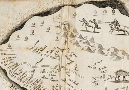 Detail from a 1657 map of Barbados, showing plantations and escaped slaves.
