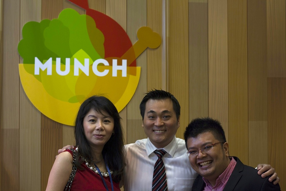 From left: Melda and Philip, new franchisees; Edwin, Owner of Munch Saladsmith.