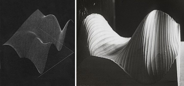 Plotter drawing (left) and physical sculpture (right) of Ridges Over Time (1968).