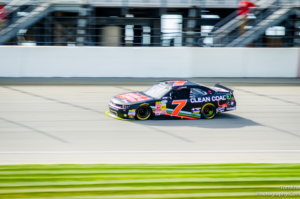 Quick Example:  When I took this shot at a NASCAR race I was at 1/250 of a second.  It all depends on how fast they are going.