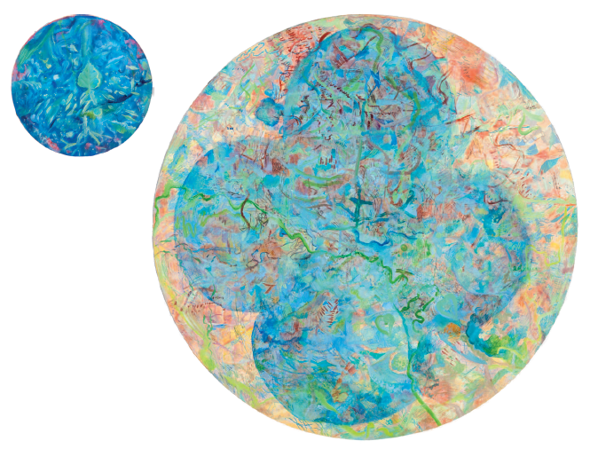 "15.	Andrea McLean, Diptych, 61 diameter and 20 diameter, oil on canvas, ""Time beyond the wheel,"" and ""Satellite."""