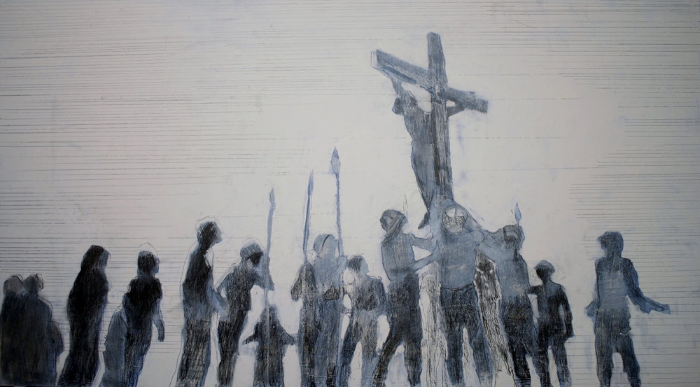 The Crucifixion by Lois Hopwood (inspired by Jesus Christ Superstar) Graphite on Gesso Panel