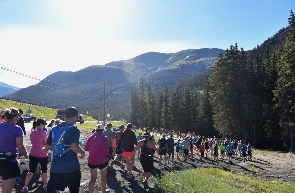 Slacker Half Marathon in Georgetown, CO. Matt did this race June 2018. You can see him down by the yellow cones to the right!