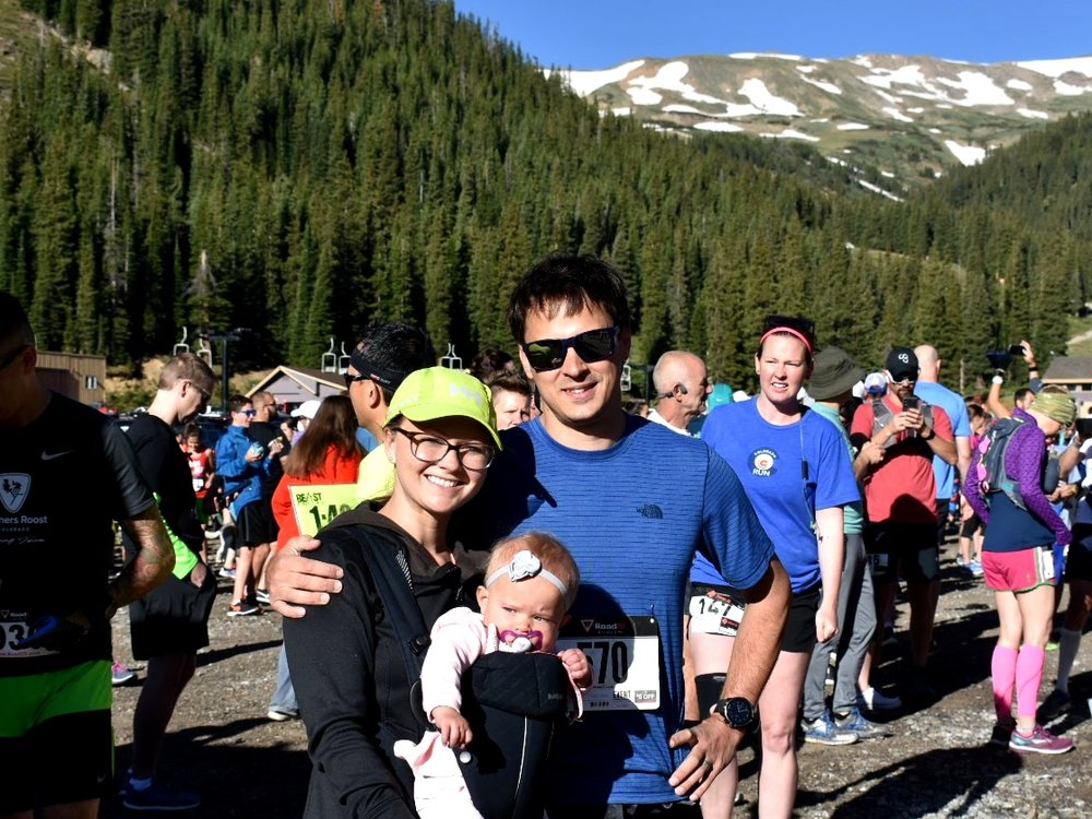 Emma and I cheering on Matt right before he sets off for his race! Race started at Loveland Ski Area.