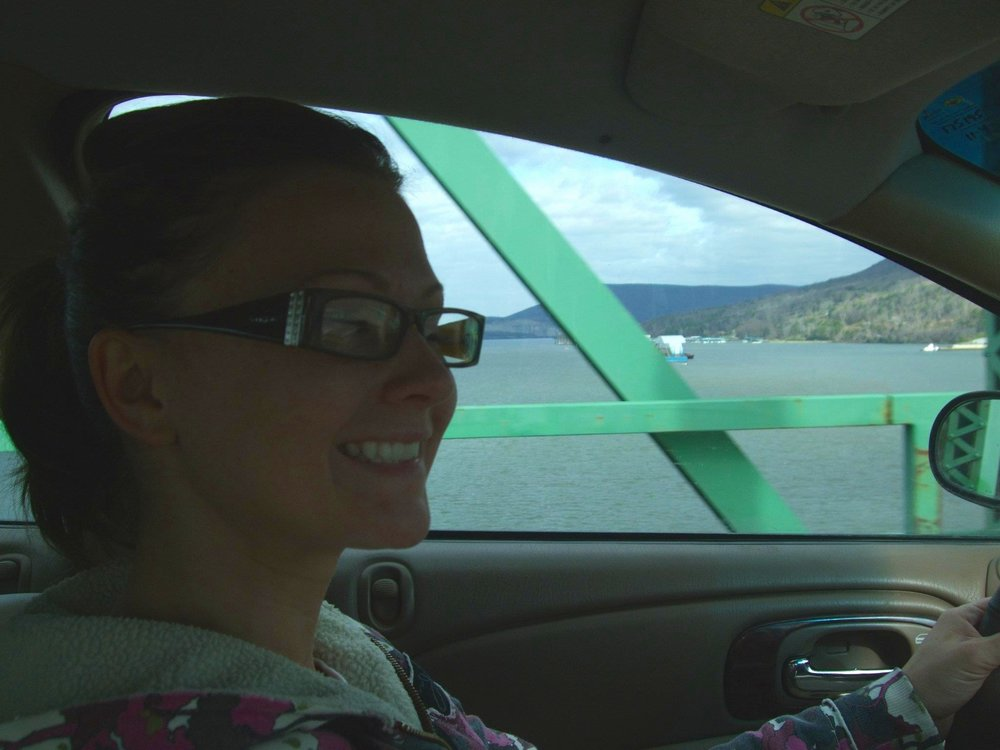 The only old school pic I could find last minute of me or Matt driving in the car on a road trip! Even though I know we have a million. This was in Chattanooga, TN.