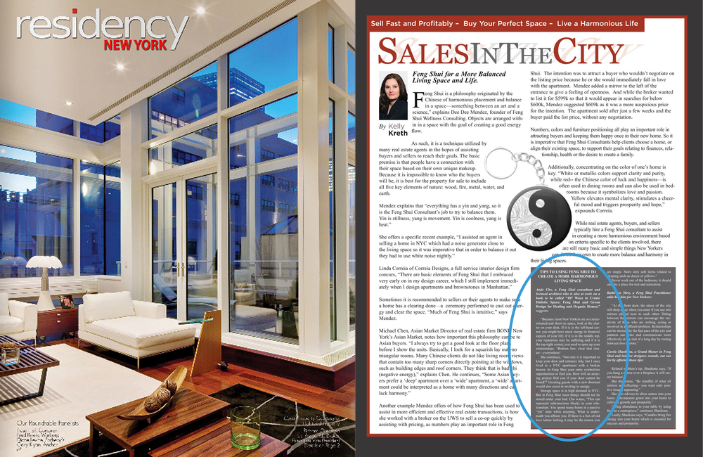 "featured in ""Sales In The City: Tips to Using Feng Shui"" by Kelly Kreth Residency New York May 2013"