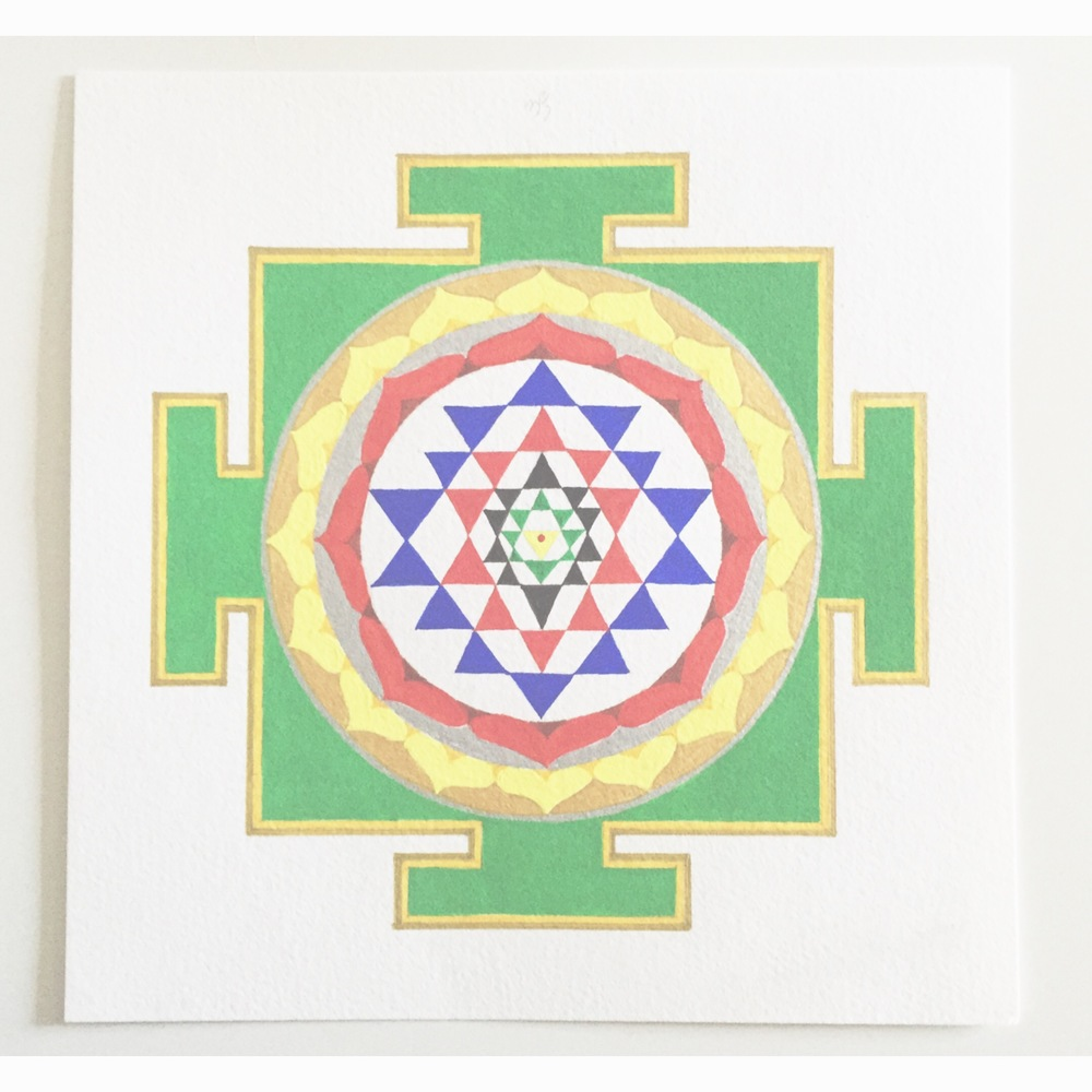 "#MantraMonday !! One of the most complex yantras is the Shri yantra. It represents the cosmos and can break through obstacles in our lives. the upward and downward triangles represent male and female. mantra: ""OM""  #mantra   #yantra  #mandala   #shriyantra   #vedic"