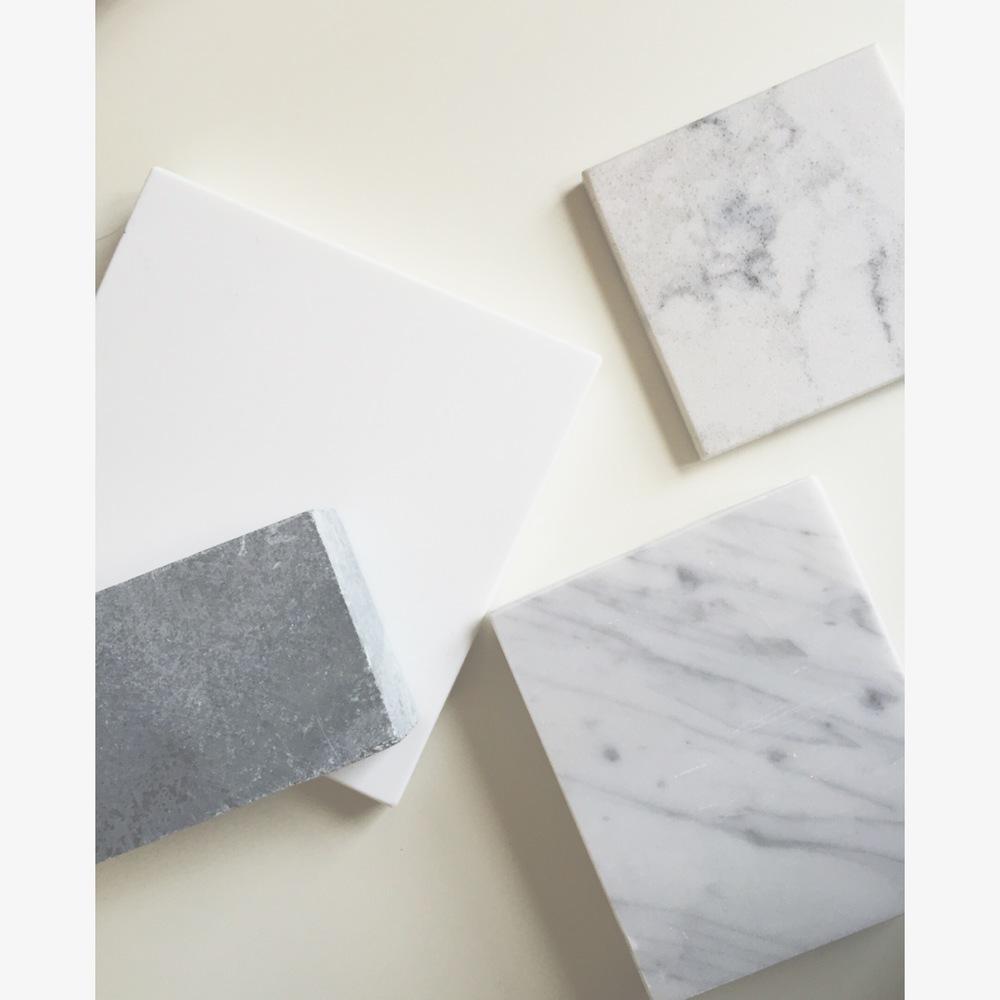 lovely countertop material: soapstone, glassos, caesarstone & marble  #interiors  #countertops  #designmaterials